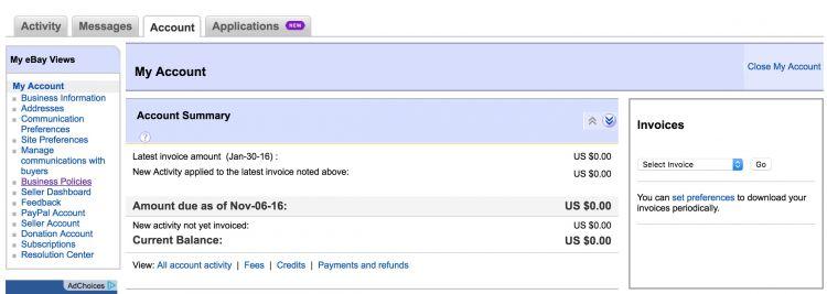 eBay Accounts Page Tutorial