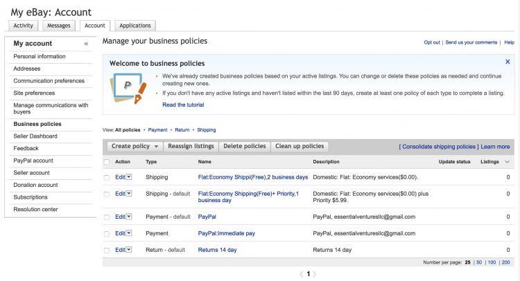eBay Business Polcies Account